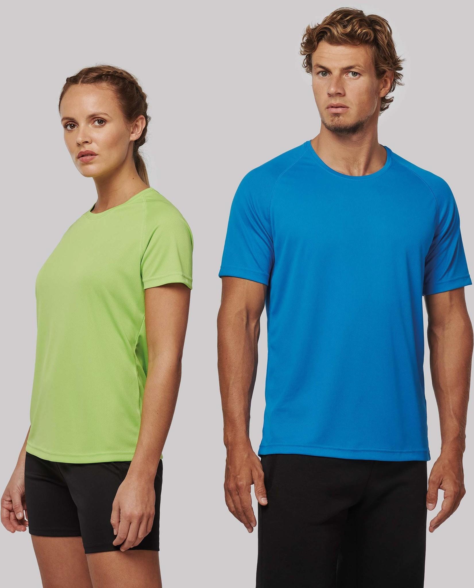 Gerecycled damessport-T-shirt met ronde hals-Wit