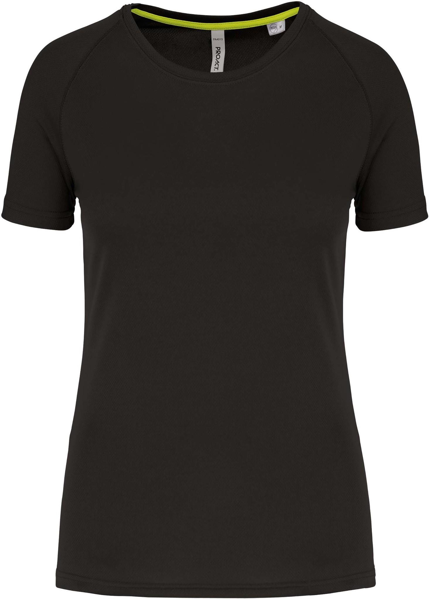 Gerecycled damessport-T-shirt met ronde hals-Zwart