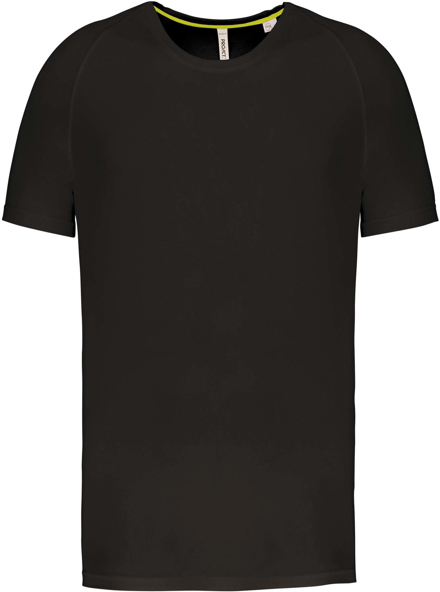 Gerecycled Herensport shirt met ronde hals-Zwart