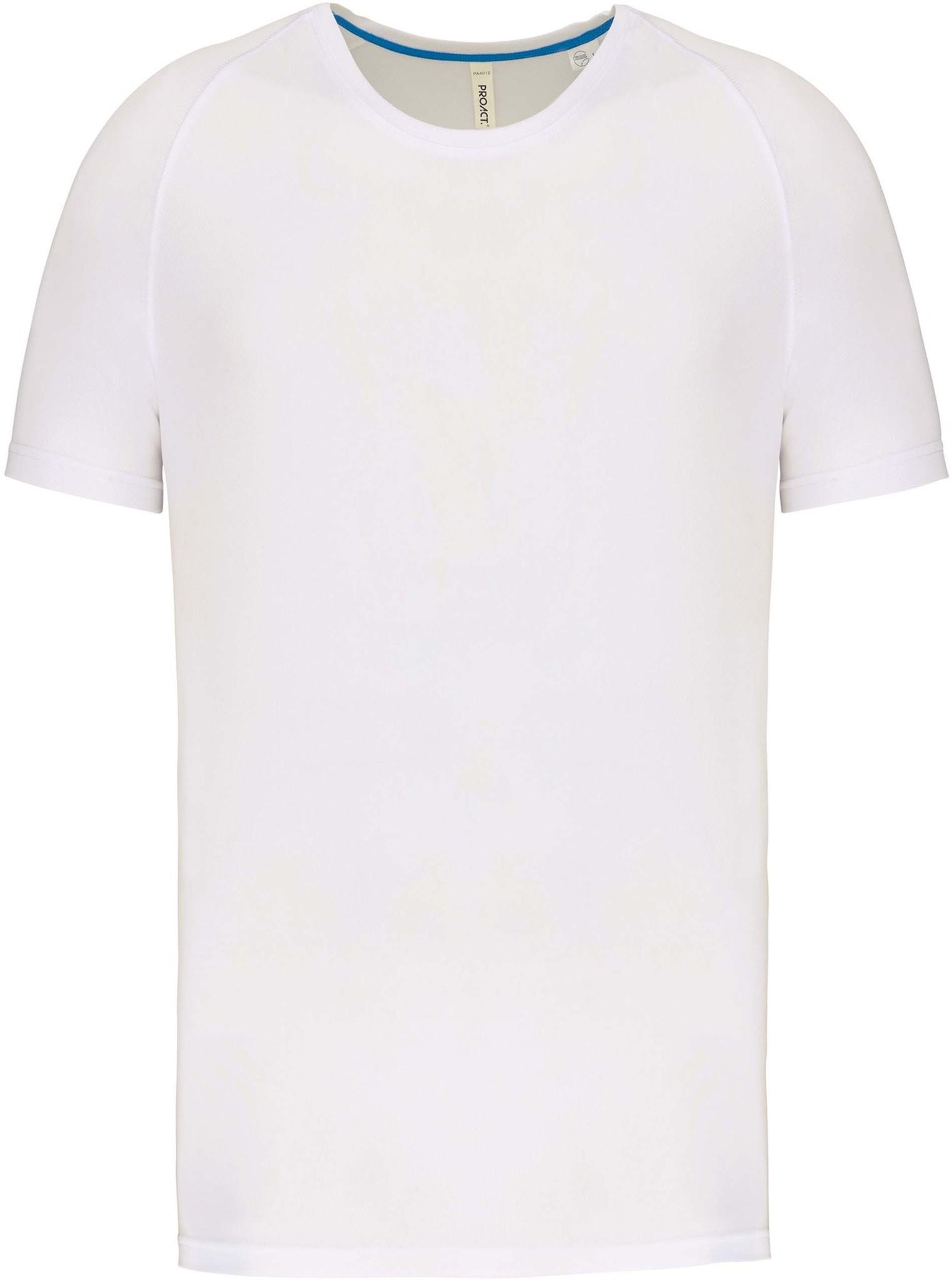 Gerecycled Herensport shirt met ronde hals-Wit