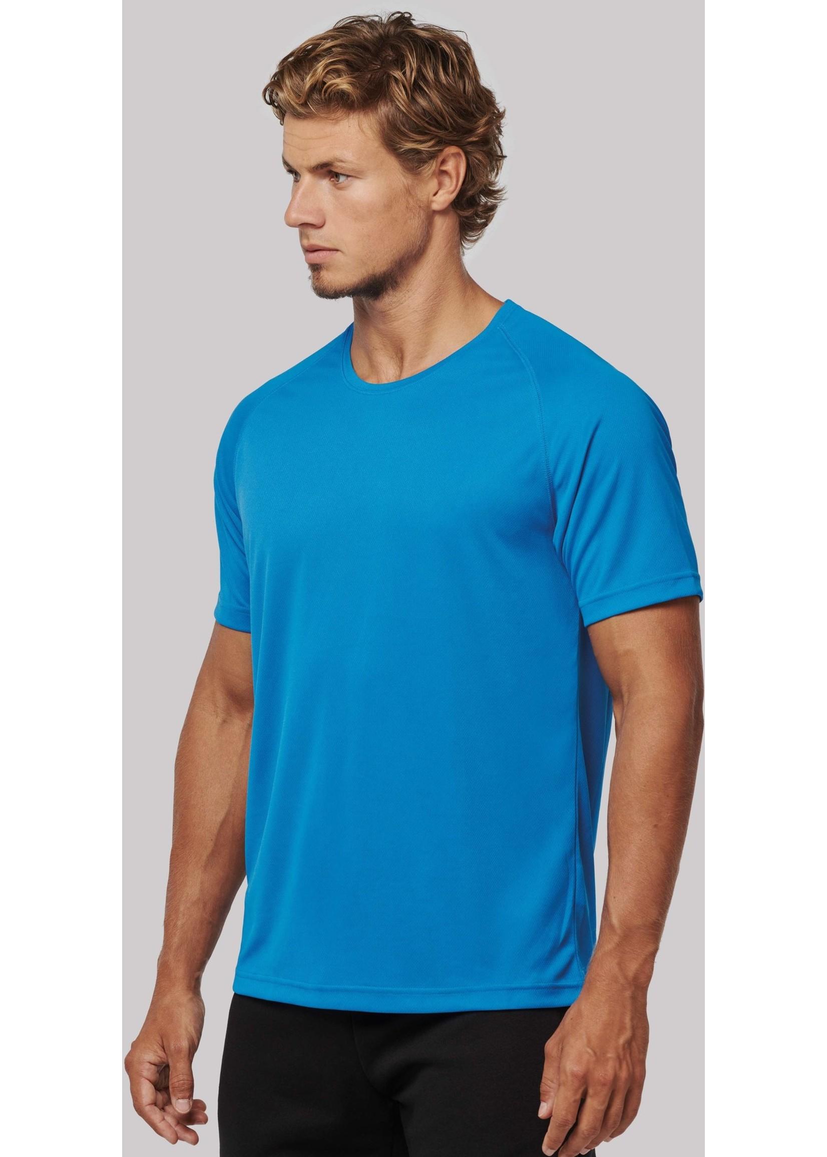 Gerecycled Herensport shirt met ronde hals-aquablue