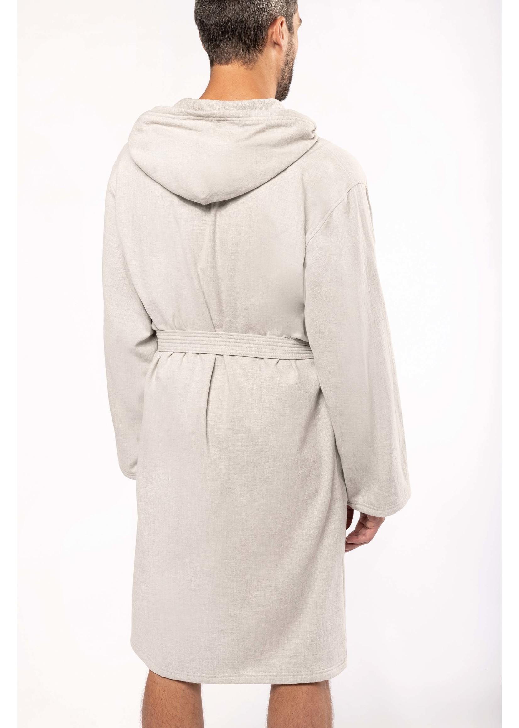 Heren  Badjas ven 100% Biokatoen Linen Grey