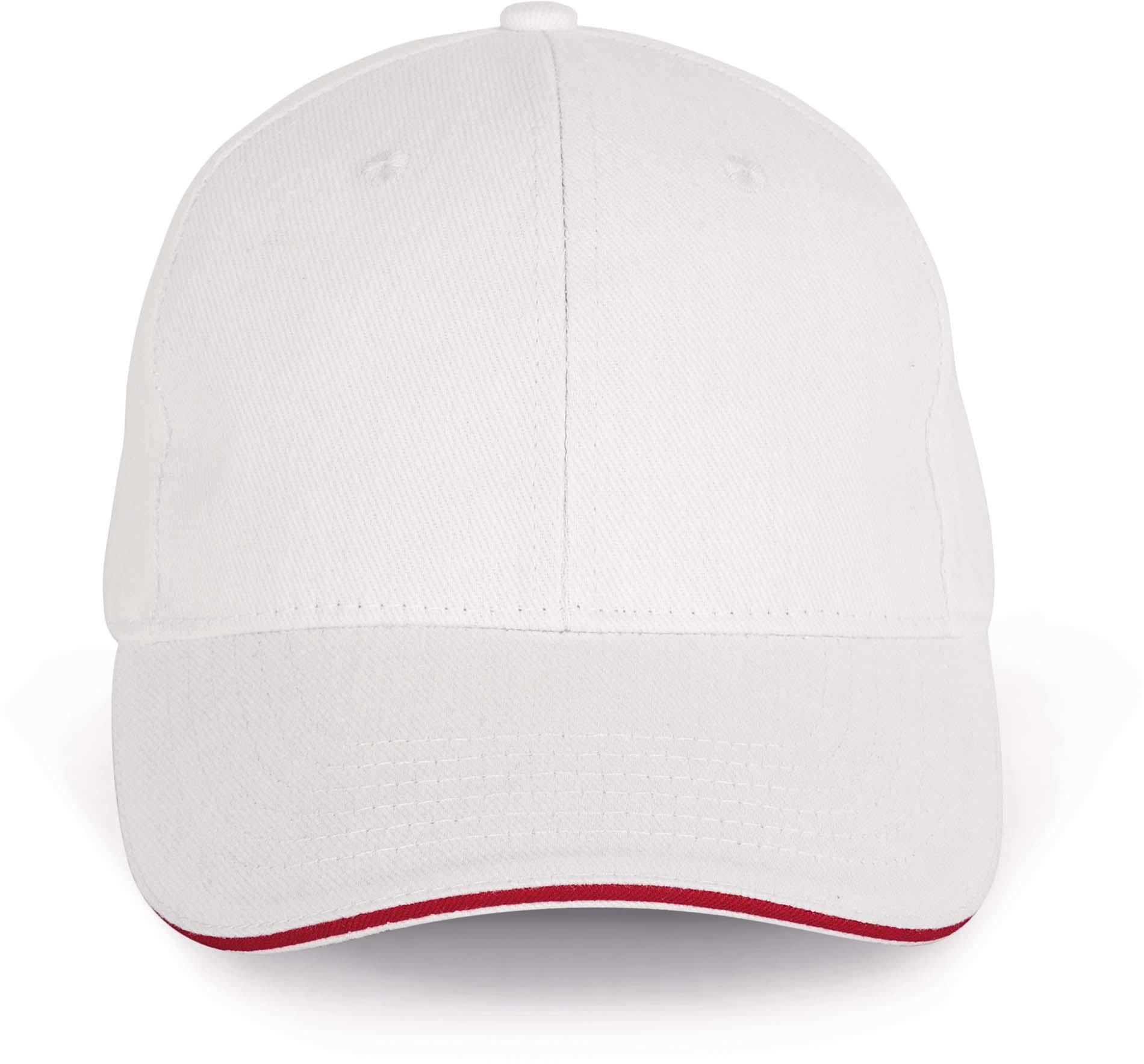 Cap van 100% Biokatoen kleur Wit-Hibiscus Rood