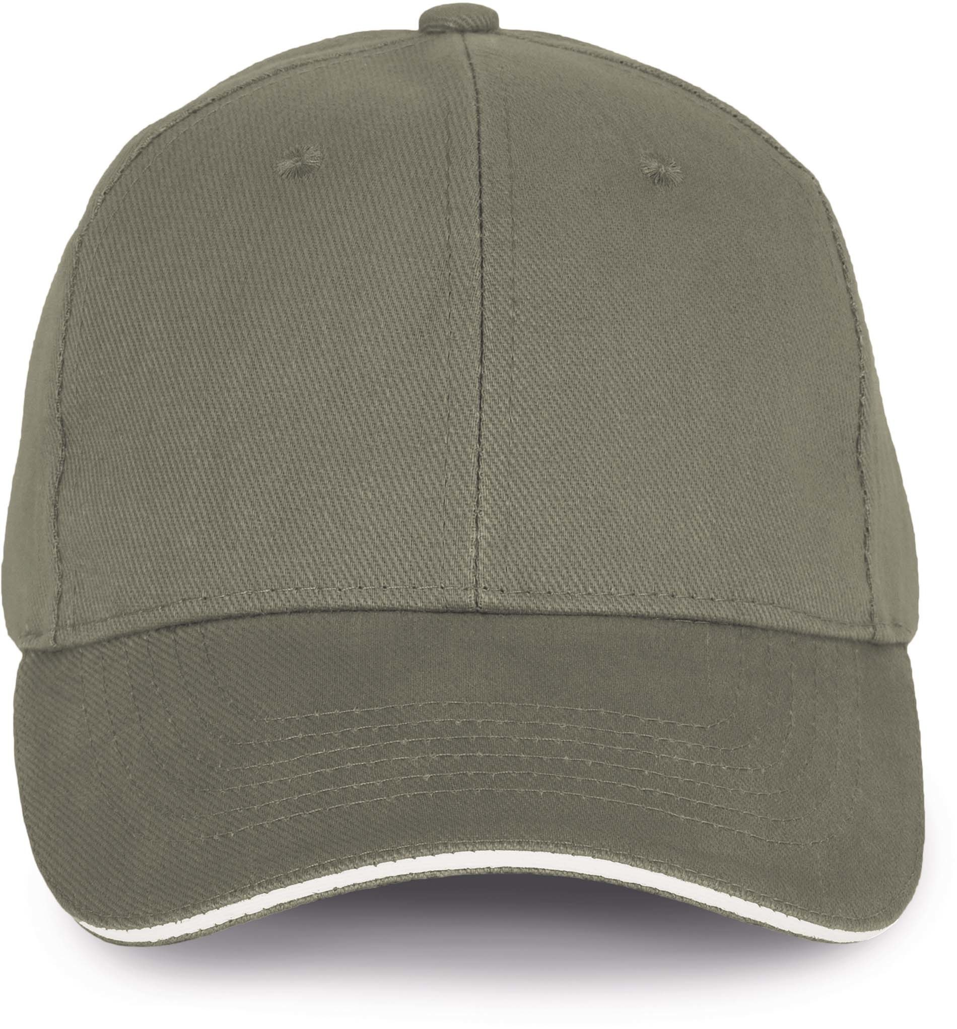 Cap van 100% Biokatoen kleur Almond green-Ivory