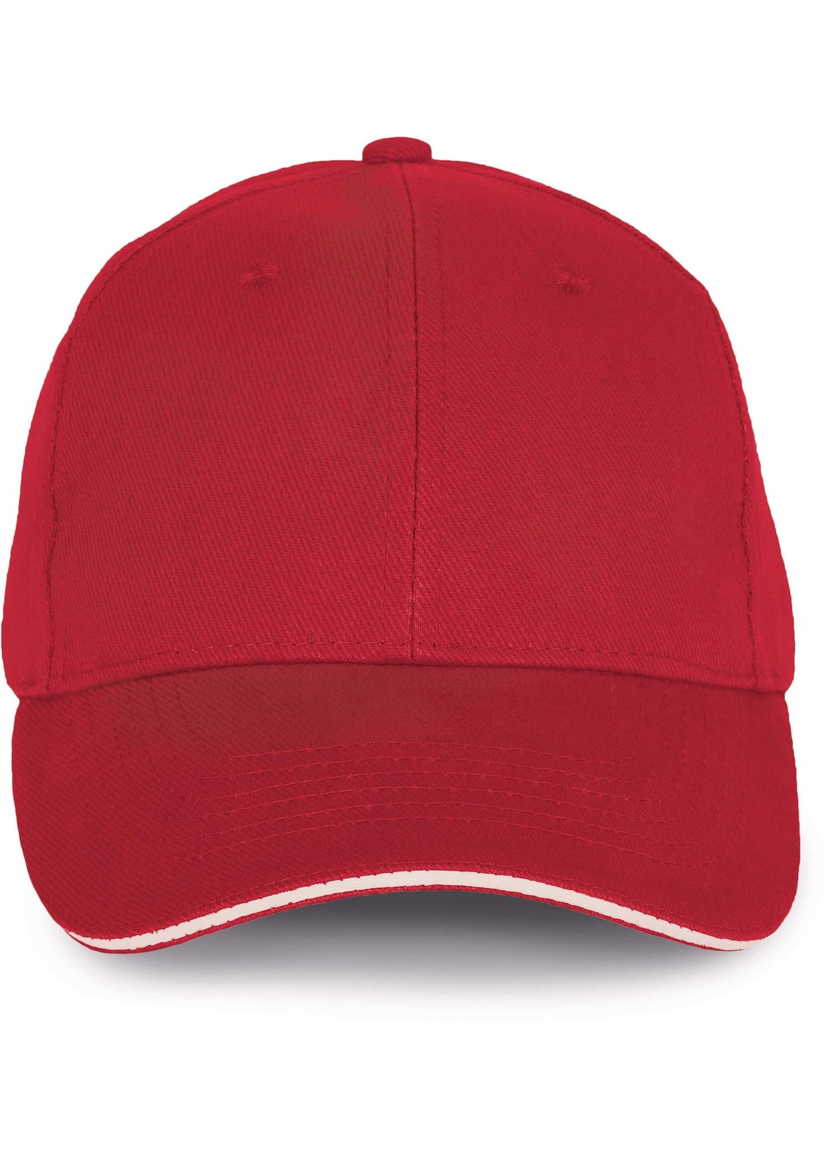 Cap van 100% Biokatoen kleur Hibiscus red-White