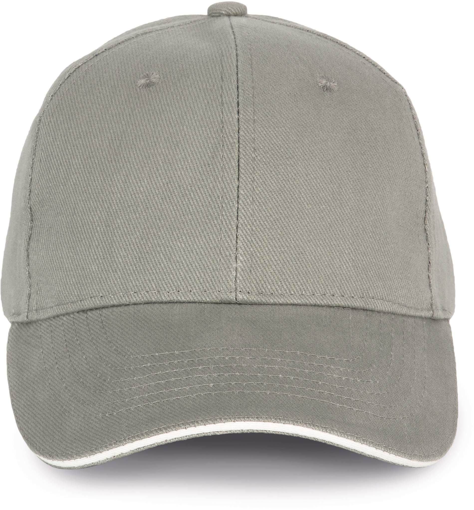 Cap van 100% Biokatoen kleur Metalgrey-White