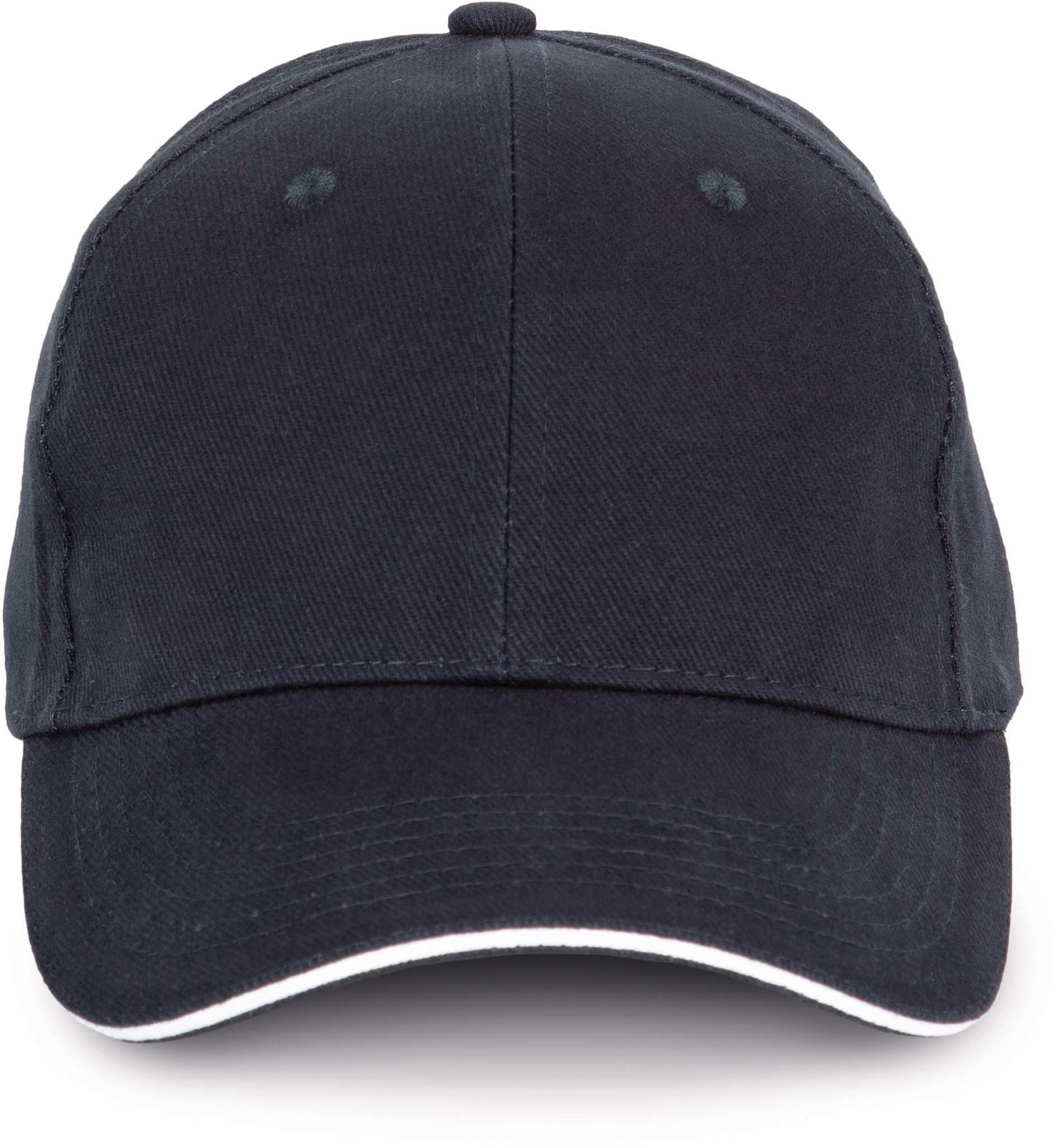 Cap van 100% Biokatoen kleur Navyblue-White
