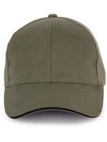 Cap van 100% Biokatoen kleur Organic kaki-Black