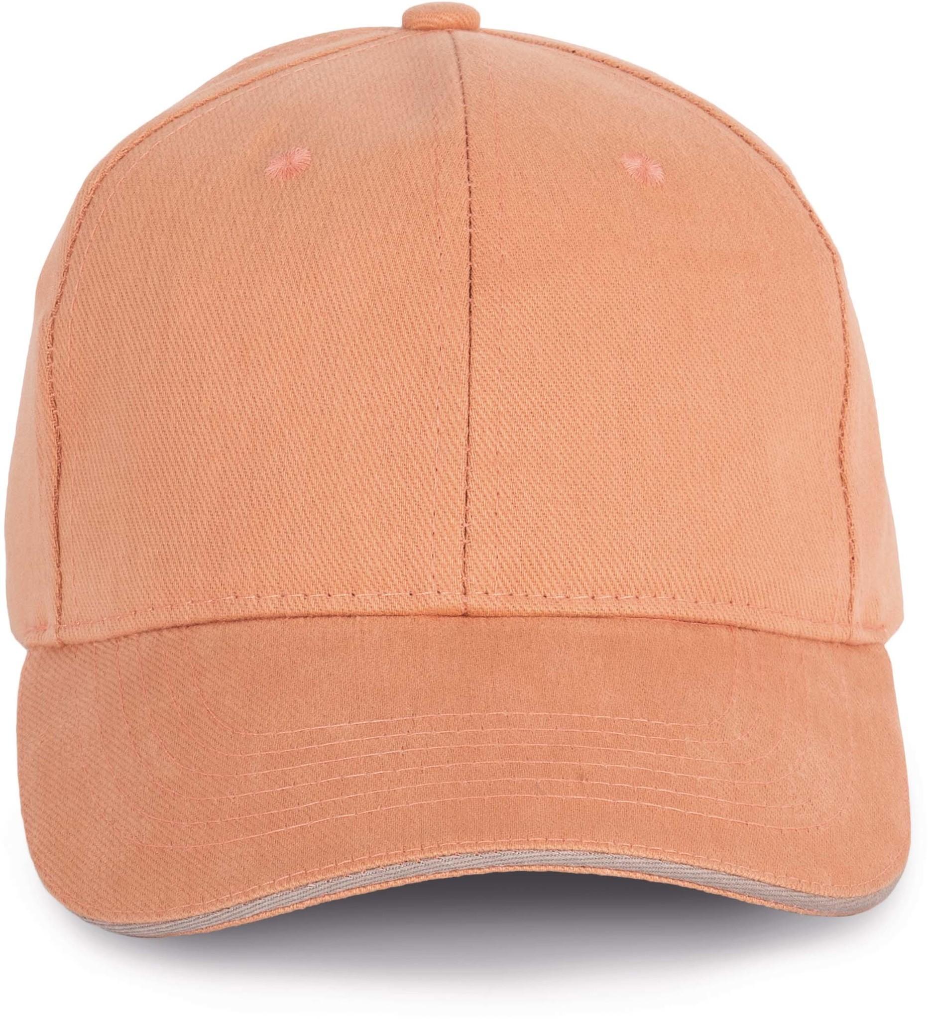 Cap van 100% Biokatoen kleur Peach-Metalgrey