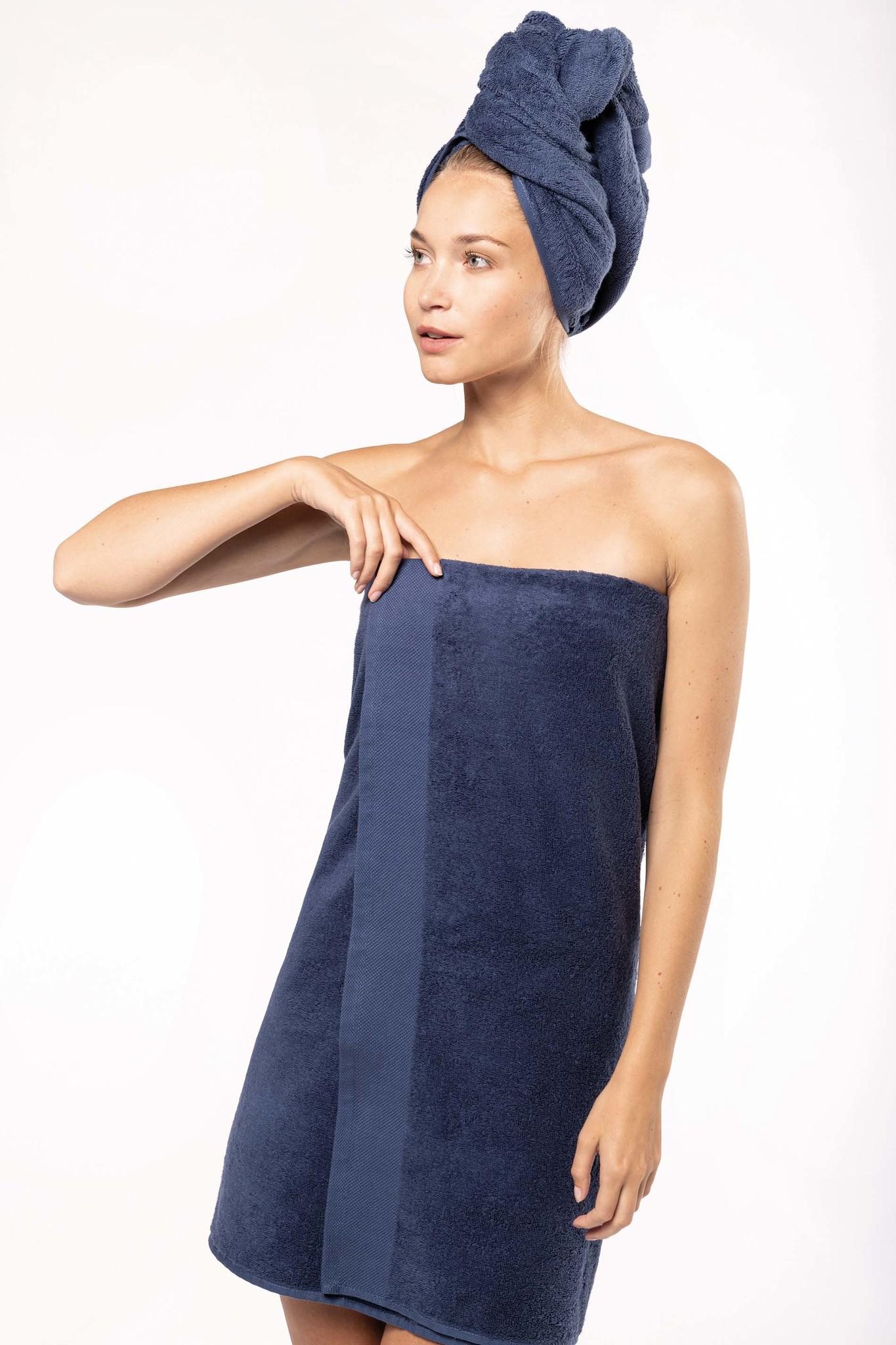 Eco-Friendly Handdoek 140 x 70 cm kleur: Navy, is te bedrukken