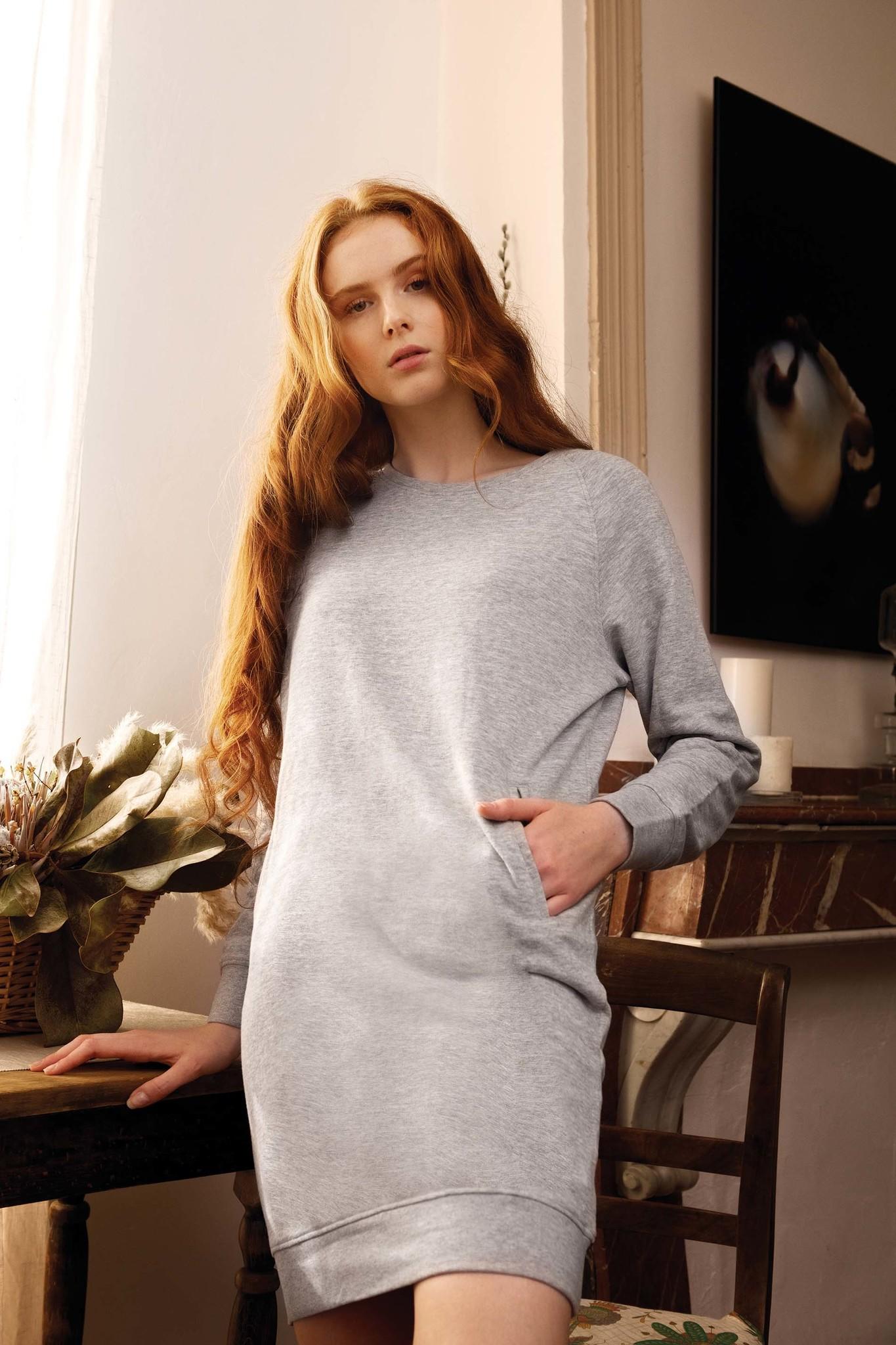 Lounge jurk Bio in fleece Navy