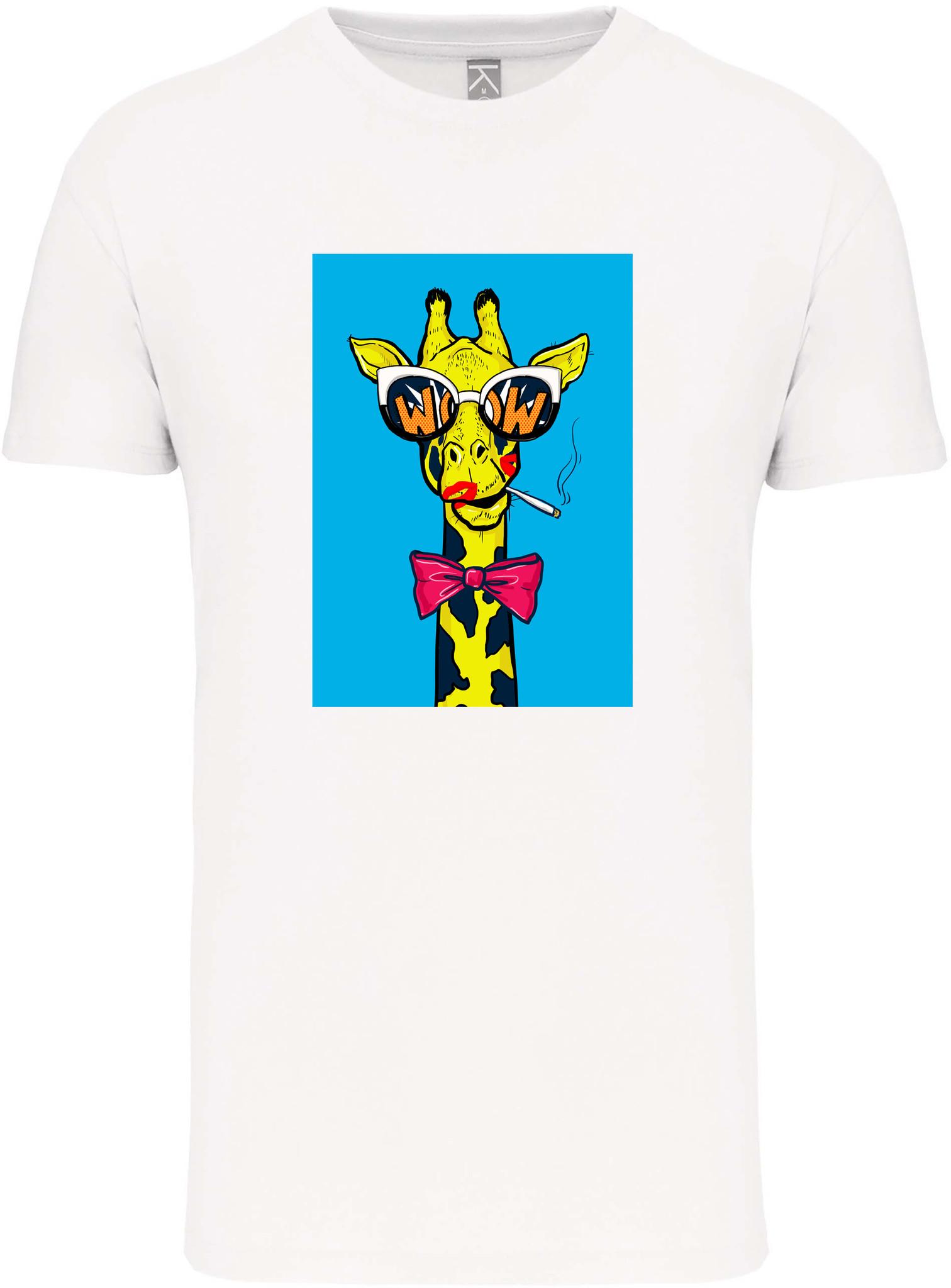 Bio-katoen T-shirt met opdruk in UNI model │Giraffe met peuk