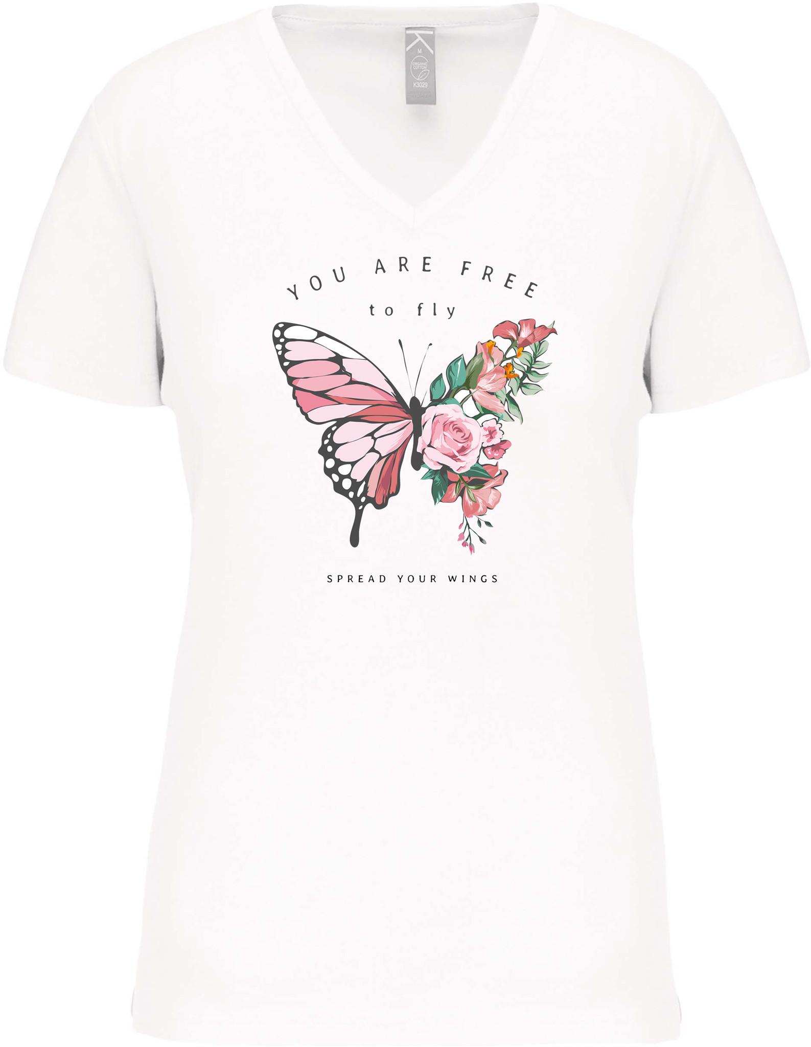 Bio-katoen T-shirt met opdruk in Dames V hals│Free to Fly