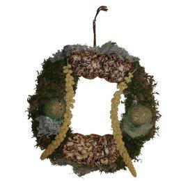 Paille couronne avec nourriture oiseau (30 cm)