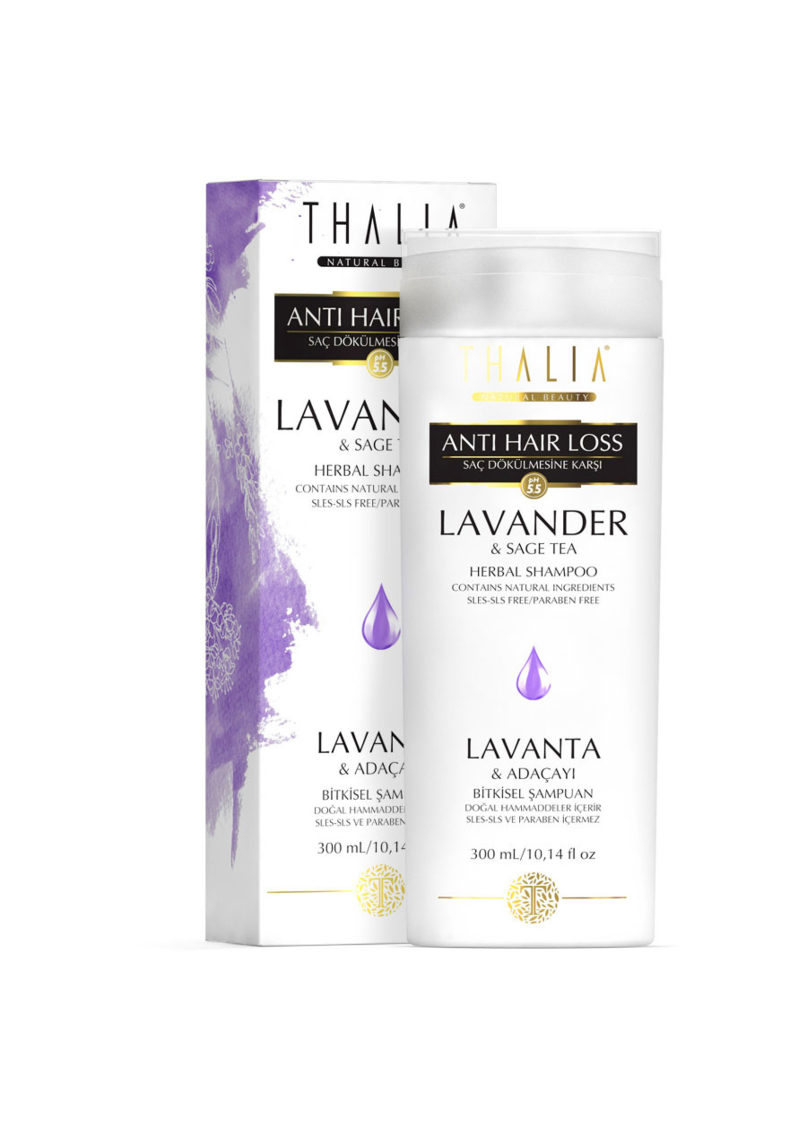 Thalia Lavanta ve Adaçayı Özlü Saç Dökülmesine Karşı Etkili Bakım Şampuanı SLS/SLES İçermez - 300 ml