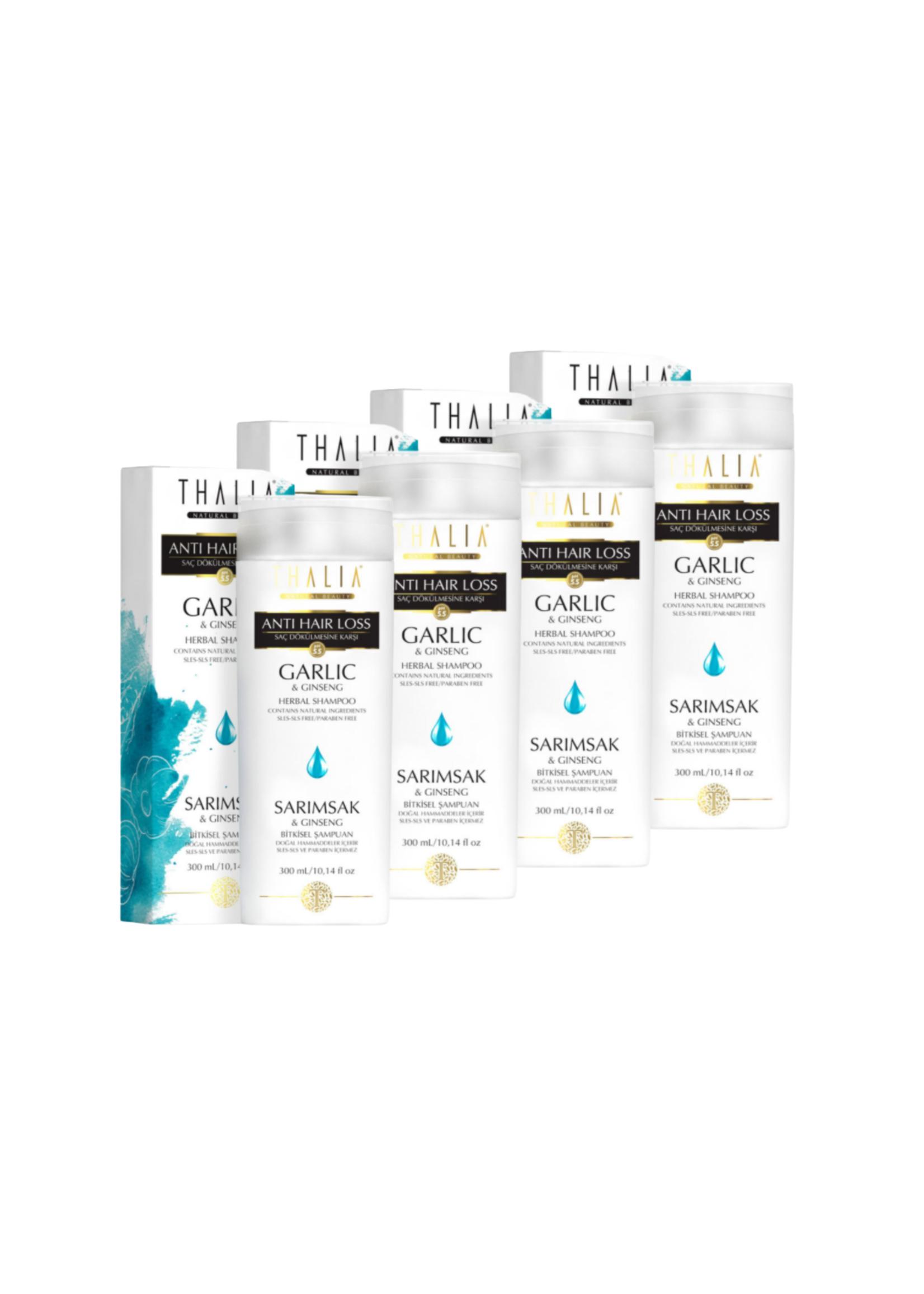 Thalia Thalia Sarımsak ve Ginseng Özlü Saç Dökülmesine Karşı Etkili Şampuan formülündeki yoğun sarımsak ve ginseng özleri sayesinde saç köklerini güçlendirir. Indirim set!