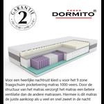 Dormito 7-Zone Pocketvering TRAAGSCHUIM matras  20 cm dik