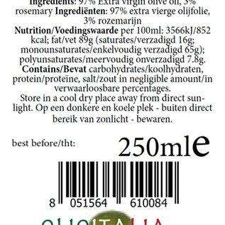 OlioItalia Single estate, extra vergine olijfolieinfusie rozemarijn - 250ml glazen fles