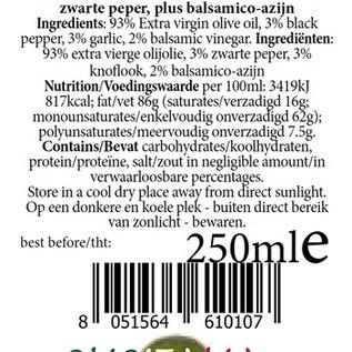 OlioItalia Single estate, extra vergine olijfolieinfusie knoflook&peper&balsamico - 250ml glazen fles