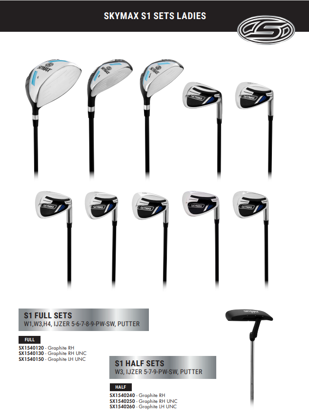 Skymax Skymax S1 Ladies Full Set Righthanded Graphite Standard