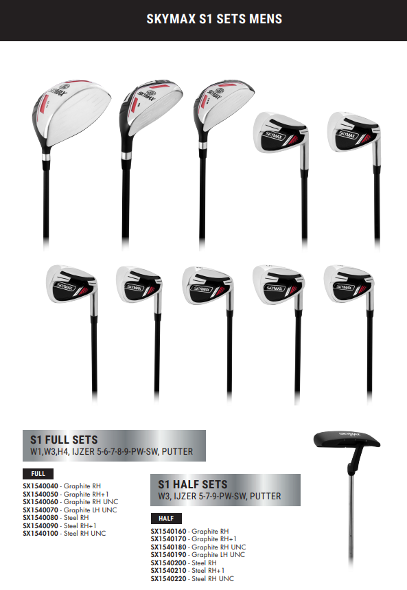 Skymax Skymax S1 Heren Half Set Righthanded Steel +1 inch
