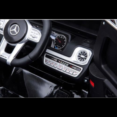 Mercedes Mercedes G63 AMG 12V Elektrische kinderauto met Rubberen banden, Leren zitje en Bluetooth (Zwart)