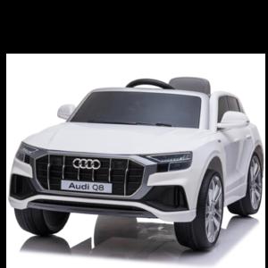 Audi Audi Q8 12V met Rubberen banden en Leren zitje (Wit)