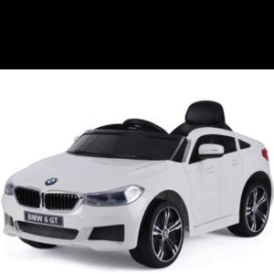 BMW BMW 6 GT 12V Rubberen banden en Leren zitje (Wit)