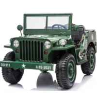 Willy's Jeep Army 12V 3 persoons kinderauto groen