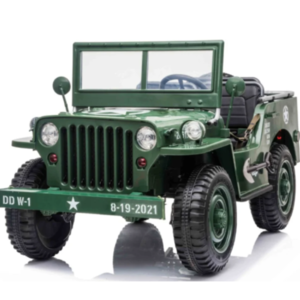 Jeep kinderauto Willy's Jeep Army 12V 3 persoons kinderauto groen