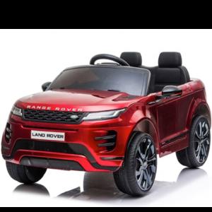 Range Rover Range Rover Evoque 12V Rubberen banden, Leren zitje en Bluetooth (Rood)