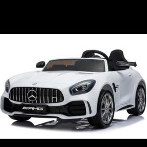 Mercedes 2-Persoons Mercedes Benz GTR AMG 12V Met Leren zitje en Rubberen Banden wit