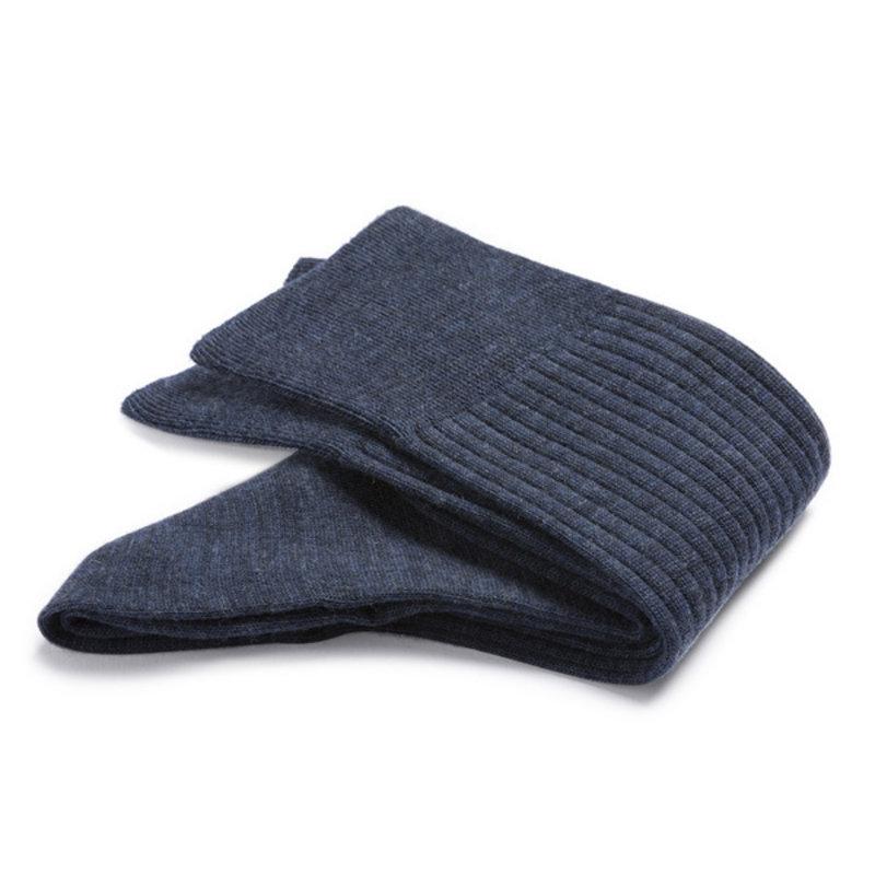 Royalblauwe wollen rib sokken | Carlo Lanza