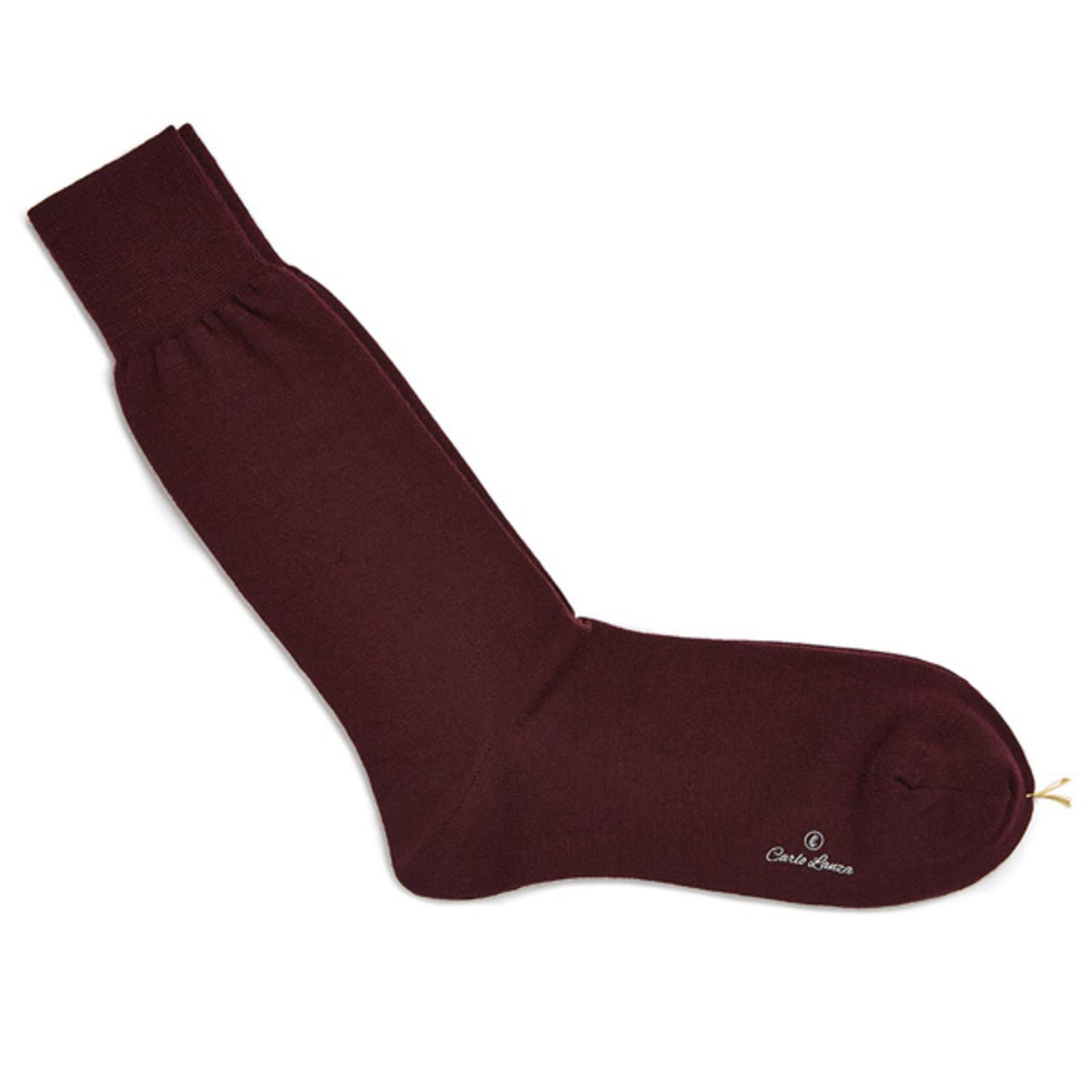 Carlo Lanza Bordeauxroten Merino Wolle Socken