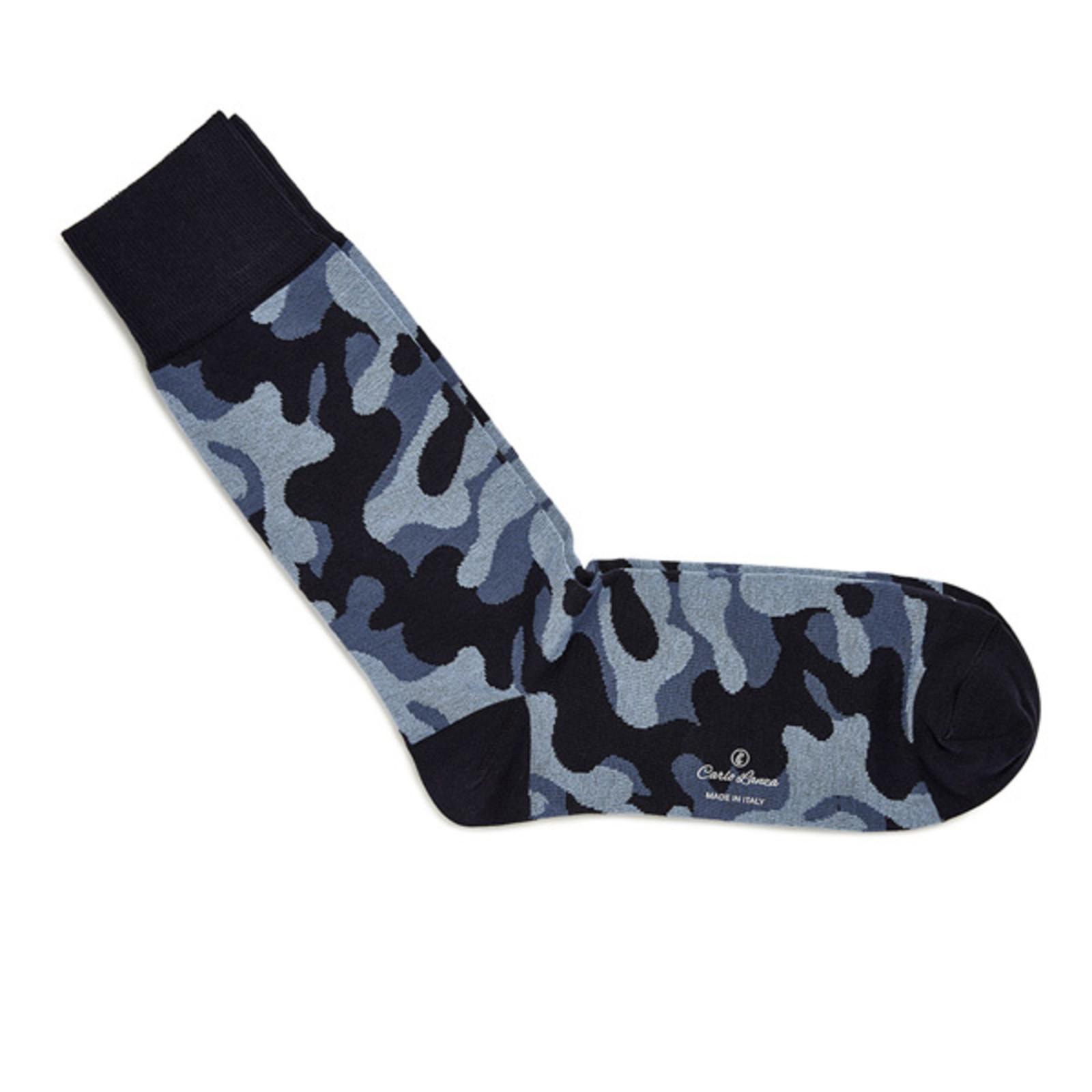 Carlo Lanza Camouflage katoenen sokken blauw   Carlo Lanza