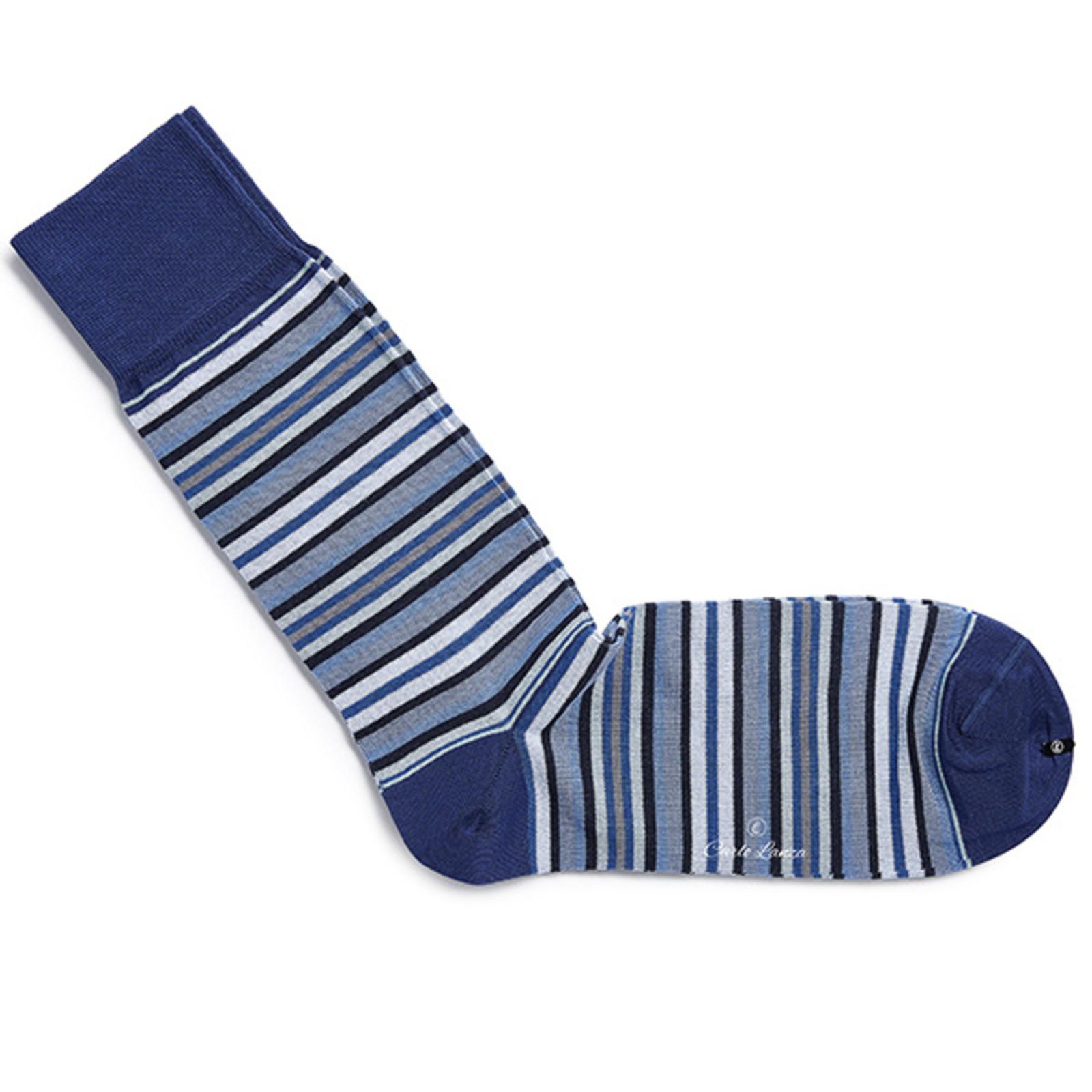 Carlo Lanza Blaue gestreifte Socken