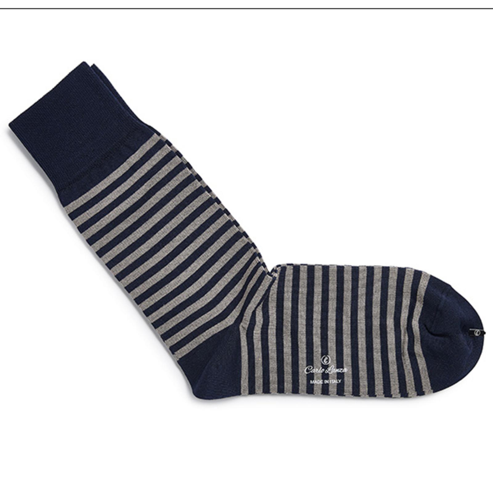 Carlo Lanza Dunkelblaue gestreifte Socken