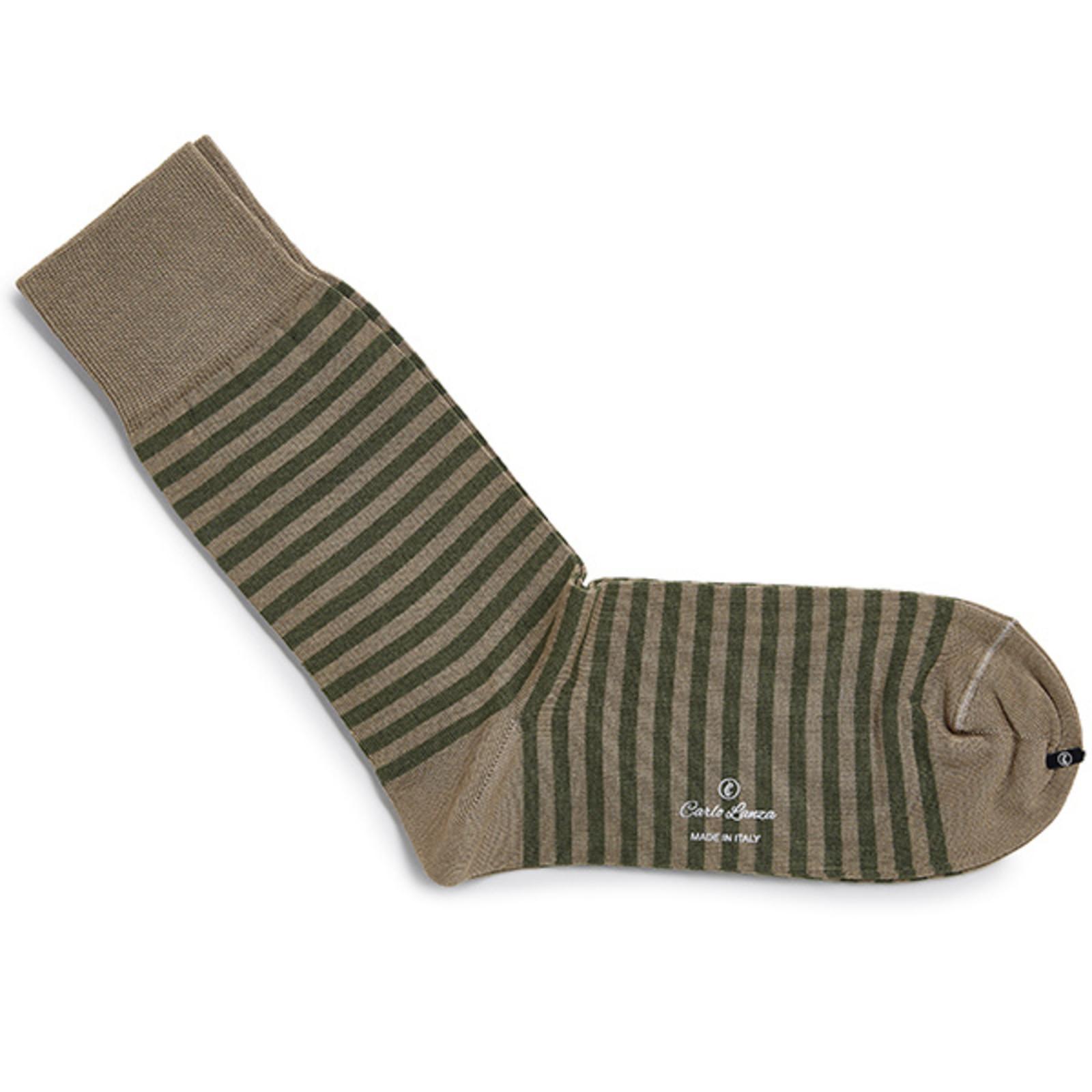 Carlo Lanza Olijfgroene streep sokken | Carlo Lanza