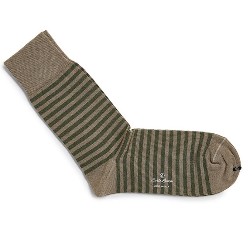 Olijfgroene streep sokken | Carlo Lanza