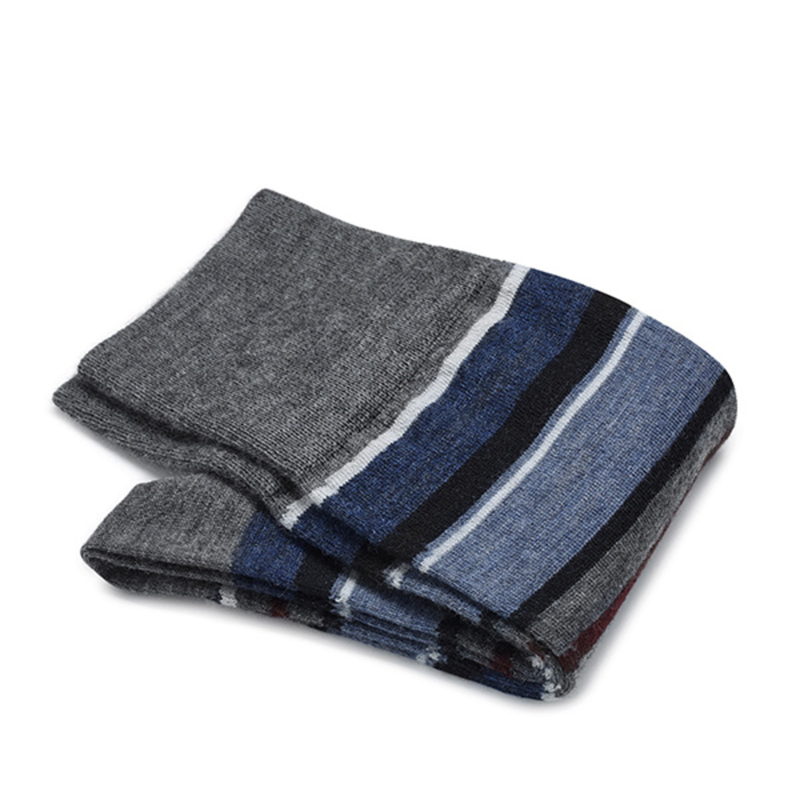 Carlo Lanza Marine gestreifte Socken Merino Wolle