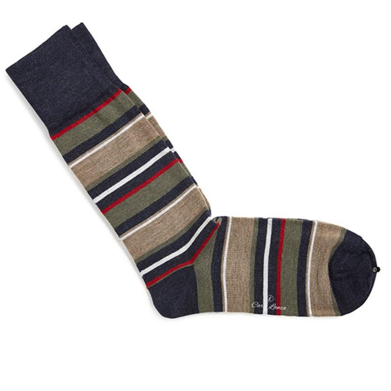 Red wool stripe socks