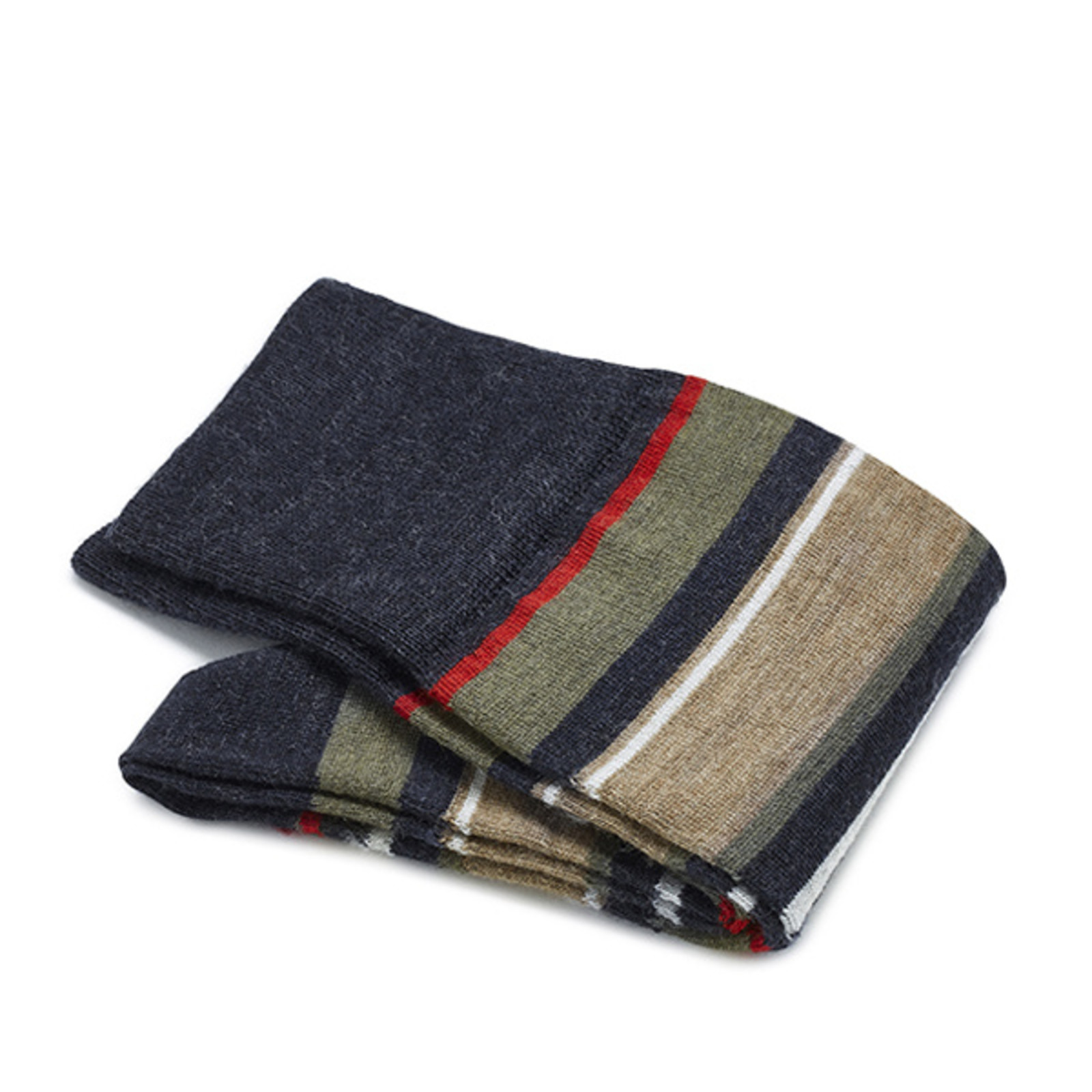Carlo Lanza Roten gestreifte Socken Merino Wolle