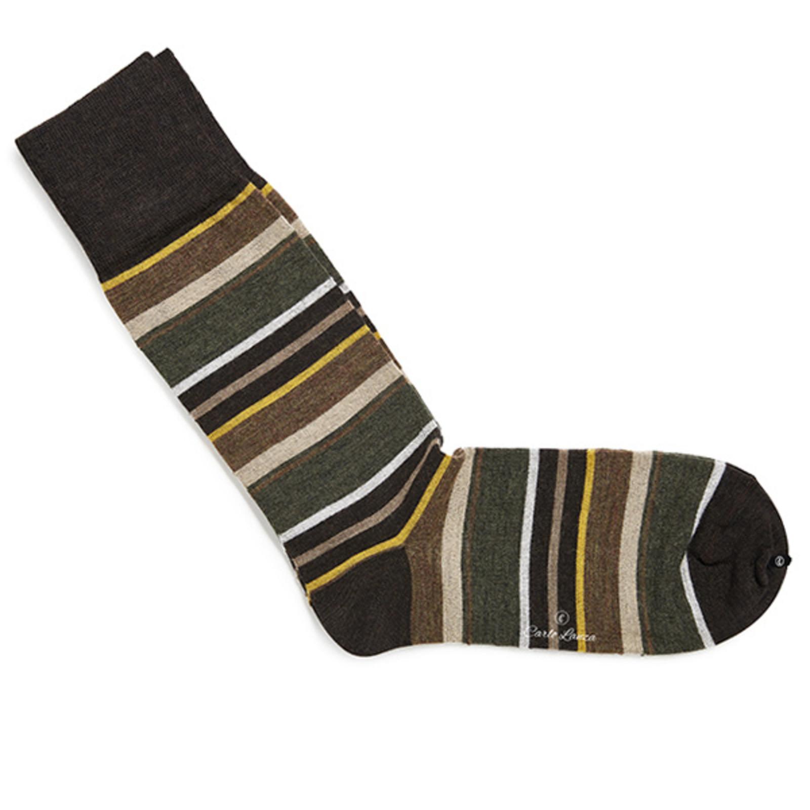 Carlo Lanza Gelbe gestreifte Socken Merino Wolle
