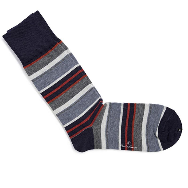 Sokken Orange & Blue Stripes   Carlo Lanza