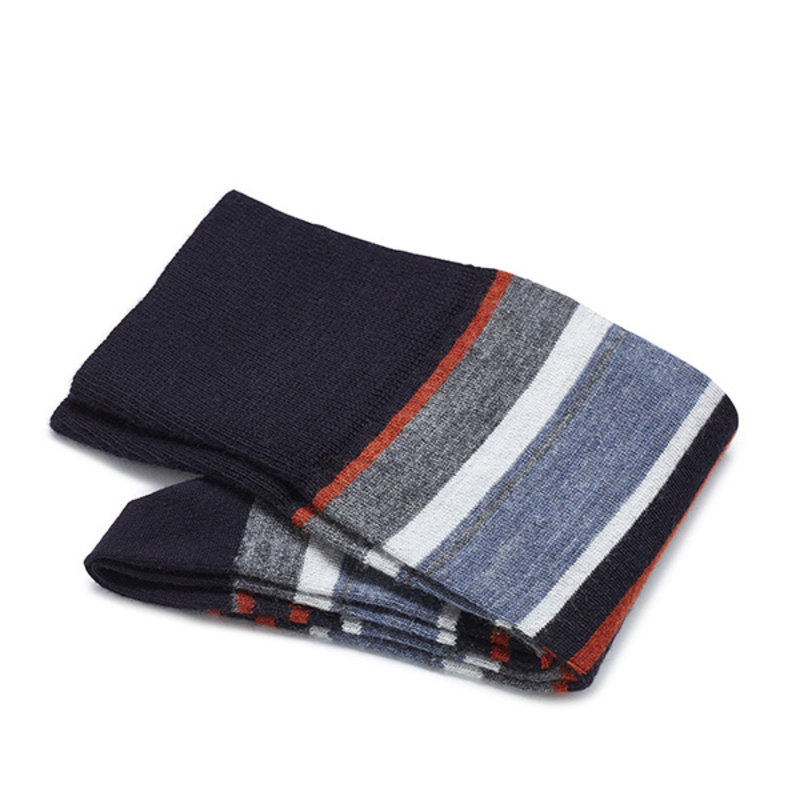 Orange/blau gestreifte Socken Merino Wolle