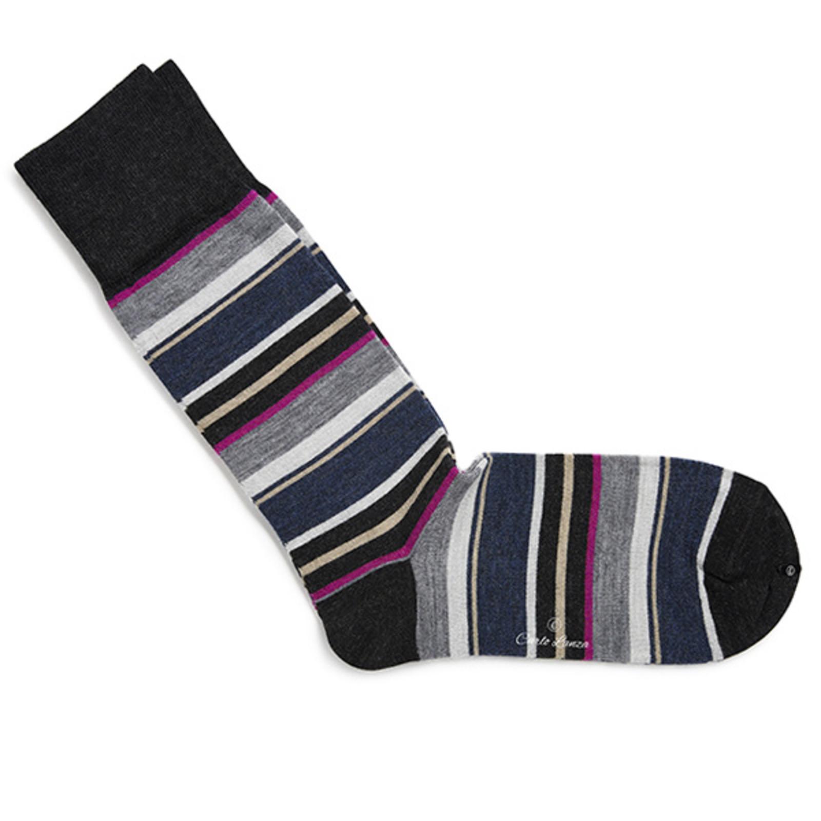 Carlo Lanza Sokken Grey & Pink Stripes | Carlo Lanza