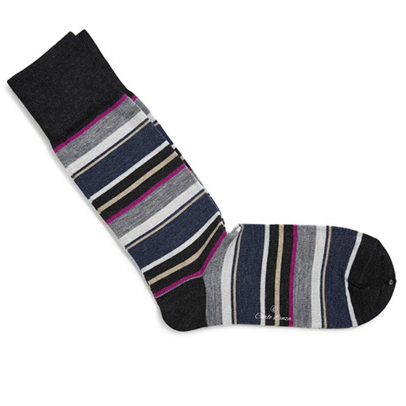 Graue/ Rosa gestreifte Socken Merino Wolle