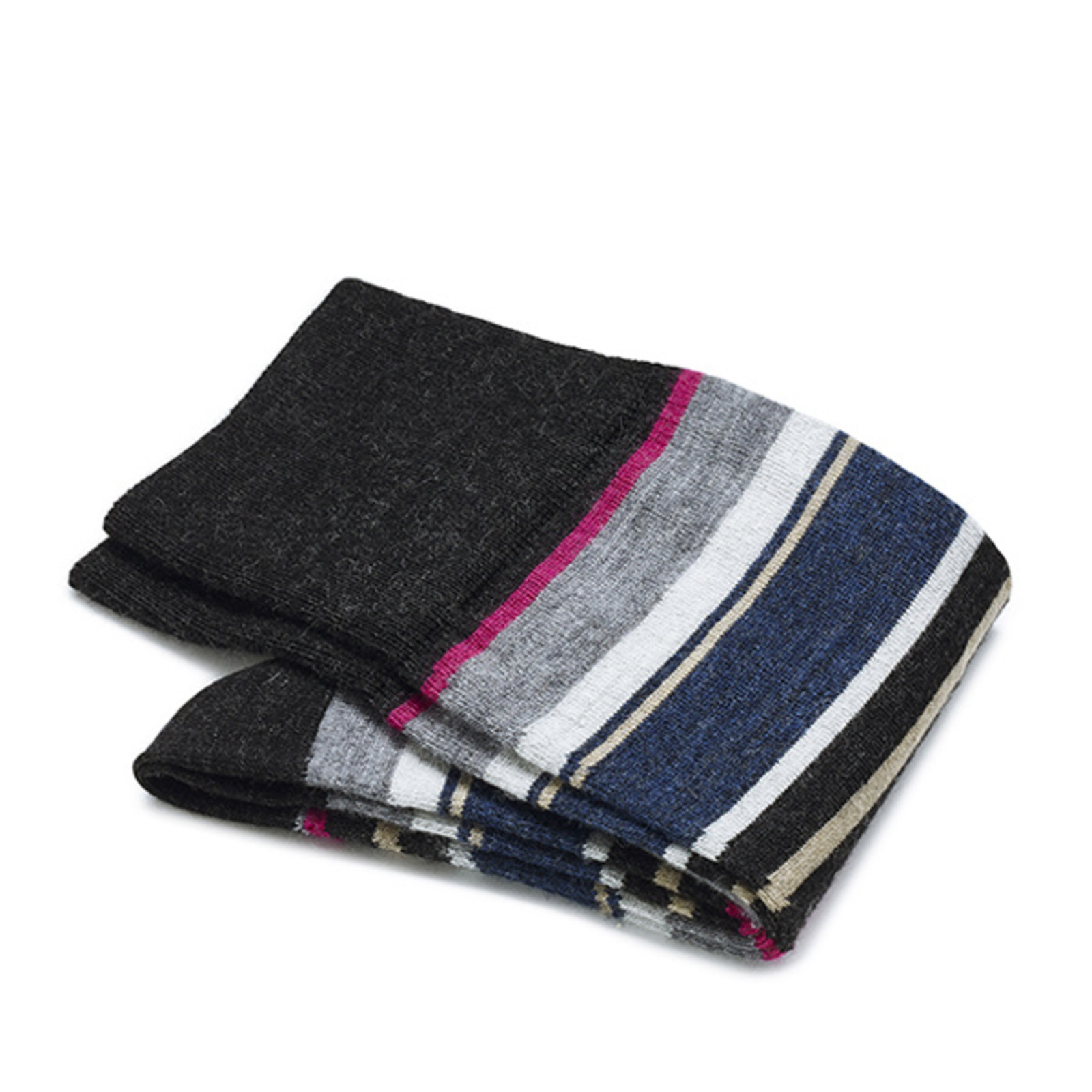Carlo Lanza Graue/ Rosa gestreifte Socken Merino Wolle
