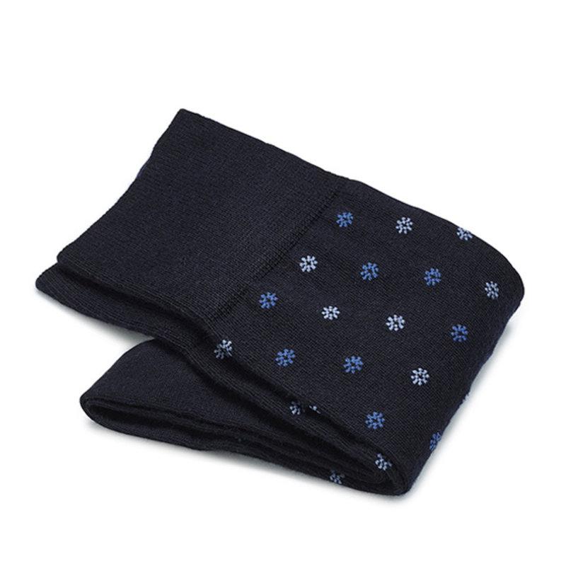 Dunkelblaue Socken mit Blumen Merino Wolle
