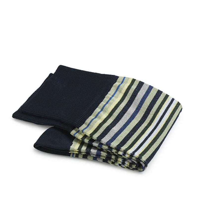 Dunkelblaue gestreifte Socken Baumwolle